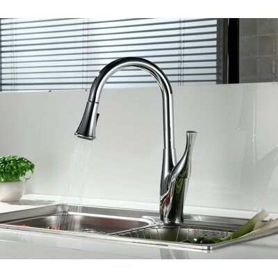 Single Handle Deck Mounted Kitchen Sink Faucet with Pull Down Spray Finish: Chrome