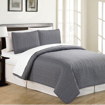 Sandra Venditti Reversible Quilt Set Size: Twin, Color: Charcoal