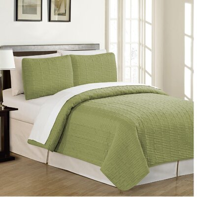 Garen Reversible Quilt Set Size: Twin, Color: White