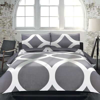 Boyce 3 Piece Duvet Set Size: Queen, Color: Grey / White