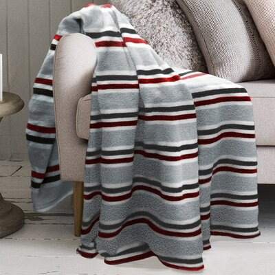 Robin Striped Polyester Blanket Color: Red