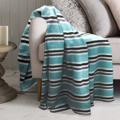 Robin Striped Polyester Blanket Color: Ocean Wave