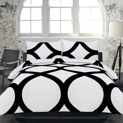 Adrien Lewis 3 Piece Duvet Set Size: Full, Color: White / Black