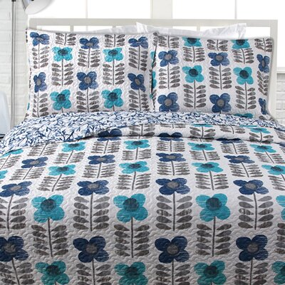 Lauren Taylor Quilt Set Color: Aqua, Size: Full / Queen