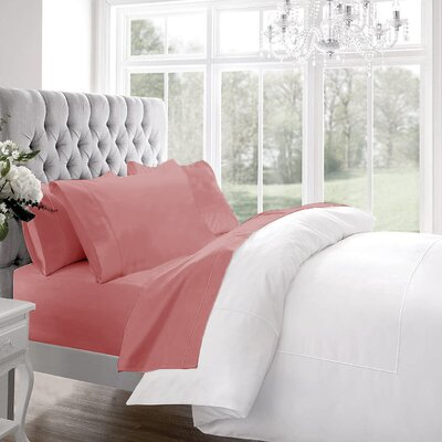 Blanc De Blancs 1200 Thread Count Sheet Set Size: Queen, Color: Coral