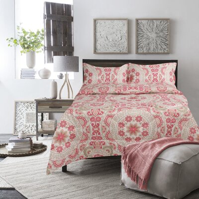 Boyce Comforter Set Color: Coral, Size: Full