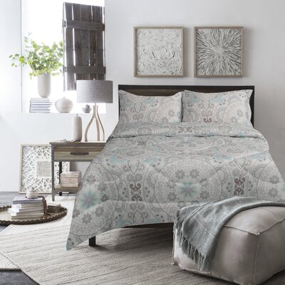 Boyce Comforter Set Size: Full, Color: Aqua