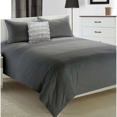 Boyce 3 Piece Duvet Set Size: Queen, Color: Grey