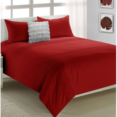 Adrien Lewis Anthony 3 Piece Duvet Set Size: Queen, Color: Red