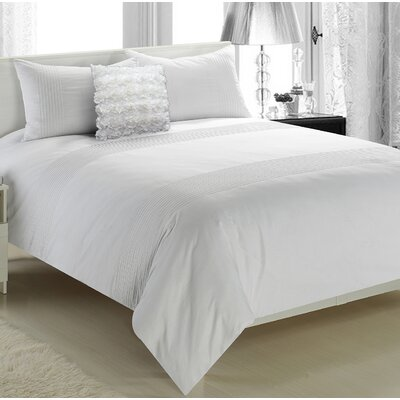Boyce 3 Piece Duvet Set Color: White, Size: Full