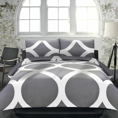 Beltran 3 Piece Duvet Cover Set Size: King, Color: Gray/White