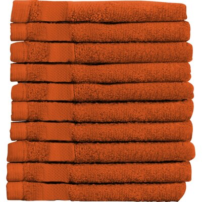 Sandra Venditti Wash Cloth 10 Piece Towsel Set Color: Tangerine