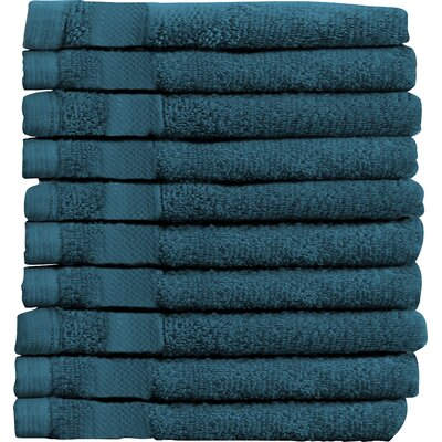 Sandra Venditti Wash Cloth 10 Piece Towsel Set Color: Teal
