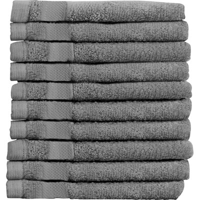 Sandra Venditti Wash Cloth 10 Piece Towsel Set Color: Charcoal
