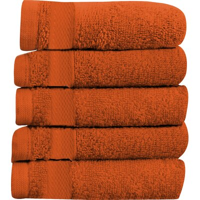 Sandra Venditti Hand Towel 5-piece Towel Set Color: Tangerine