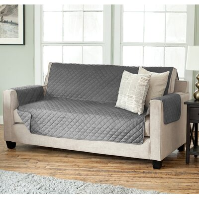 Carnside Diamond Box Cushion Sofa Slipcover Finish: Gray