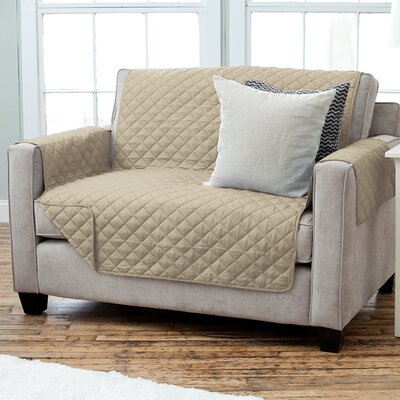 Carnside Diamond Quilt Box Cushion Loveseat Slipcover Finish: Taupe