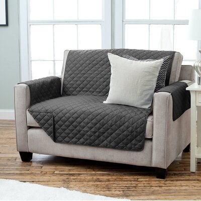 Carnside Diamond Quilt Polyester Loveseat Slipcover Finish: Black