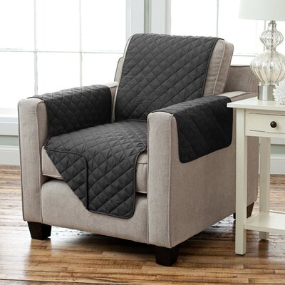 Lauren Taylor Diamond Polyester Armchair Slipcover Finish: Black
