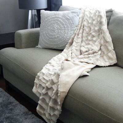 Adrien Lewis Polyester Throw Color: Ivory