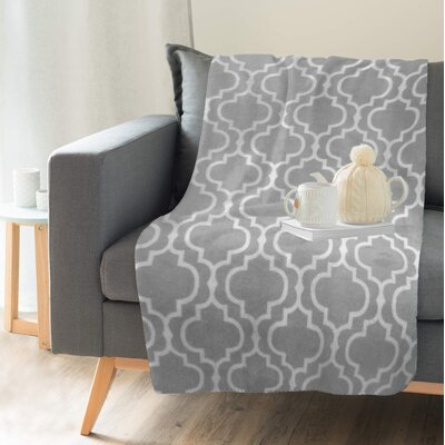 Lauren Taylor Printed Trellis Flannel Throw Color: Silver, Size: 60 H x 50 W