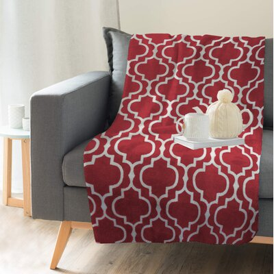 Hornsea Printed Trellis Flannel Throw Color: Red, Size: 80 H x 60 W