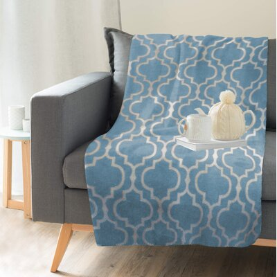 Hornsea Printed Trellis Flannel Throw Color: Blue, Size: 60