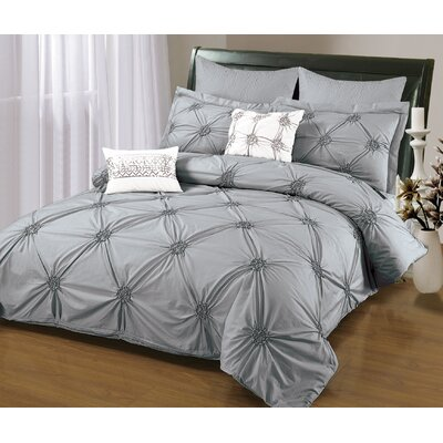Sandra Venditti 6 Piece Duvet Set Size: Full/Double, Color: Gray
