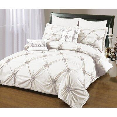 Sandra Venditti 6 Piece Duvet Set Size: Full/Double, Color: White