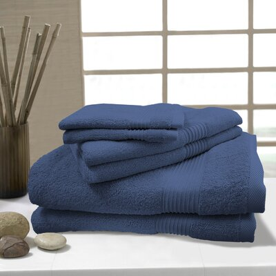 W Home 6 Piece Rayon from Bamboo Spa Towel Set Color: Denim