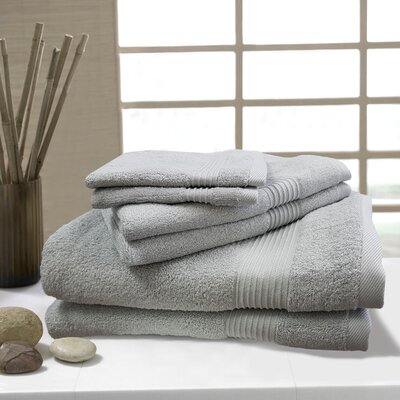 W Home 6 Piece Rayon from Bamboo Spa Towel Set Color: Gray