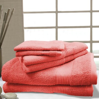 W Home 6 Piece Rayon from Bamboo Spa Towel Set Color: Coral