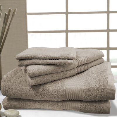 W Home 6 Piece Bamboo Spa Towel Set Color: Taupe