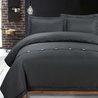 Carnside 3 Piece Solid Duvet Cover Set Color: Black, Size: Queen