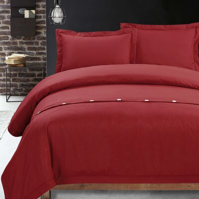 Carnside 3 Piece Solid Duvet Cover Set Size: Full, Color: Red