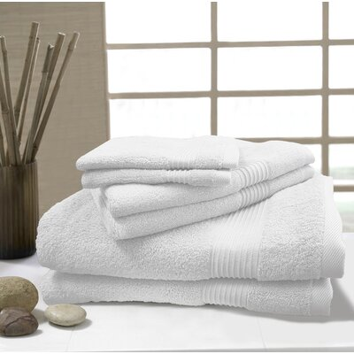W Home 6 Piece Rayon from Bamboo Spa Towel Set Color: White