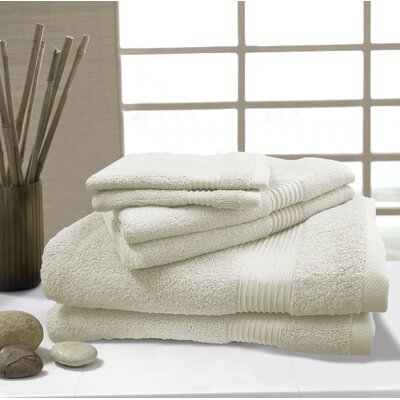 W Home 6 Piece Rayon from Bamboo Spa Towel Set Color: Ivory