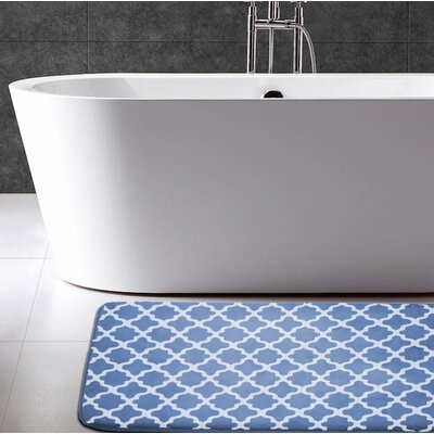Osmond Flannel Memory Foam Bath Rug Color: Denim