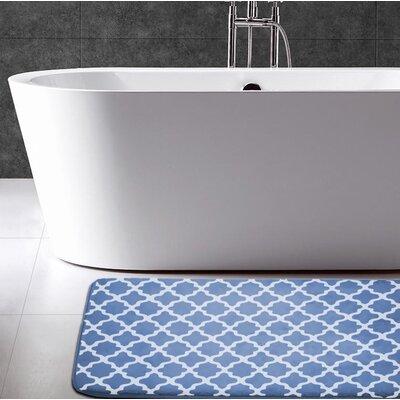 Adrien Lewis Flannel Memory Foam Bath Rug Color: Denim