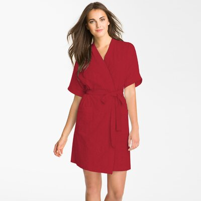 Studio 707 Micro Fleece Bathrobe Color: Red