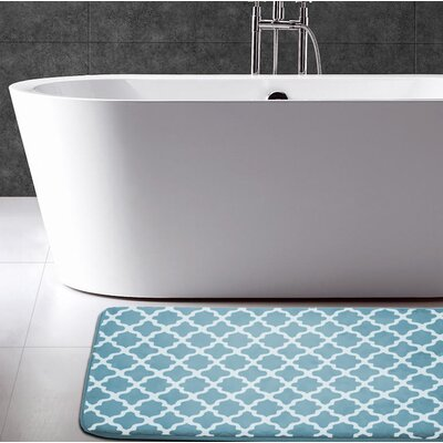 Osmond Flannel Memory Foam Bath Rug Color: Aqua