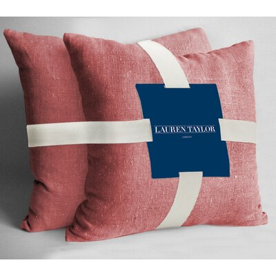 Lauren Taylor Throw Pillow Color: Coral