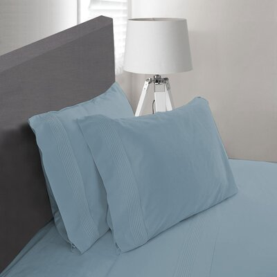Carnside Pleated Sheet Set Size: Twin, Color: Dark Blue