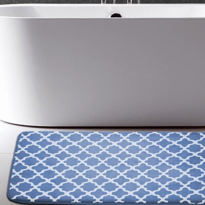 Osmond Flannel Memory Foam Bath Rug Color: Denim