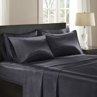Satin 6 Piece Sheet Set Color: Black, Size: California King