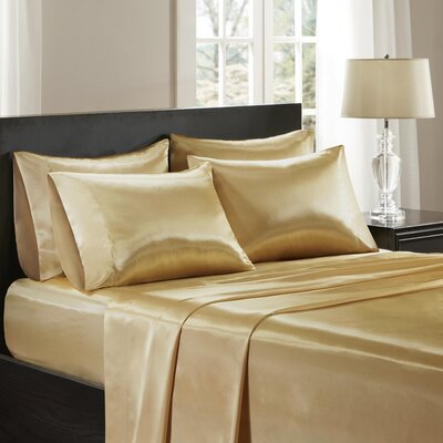 Satin 227 Thread Count 6 Piece Sheet Set Size: Queen, Color: Gold