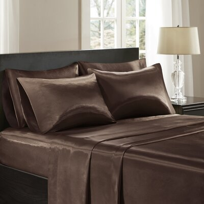Satin 6 Piece Sheet Set Color: Chocolate, Size: California King