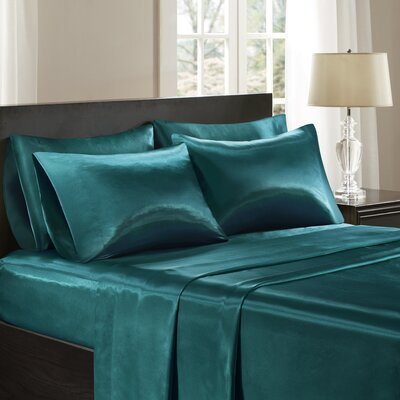Satin 227 Thread Count 6 Piece Sheet Set Size: King, Color: Teal