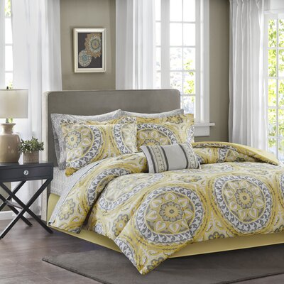 Almerton Comforter Set Size: Full, Color: Yellow