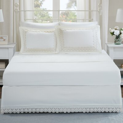 Ficoide Floral Eyelet Embroidered Shams and Bed Skirt Set Size: King, Color: Ivory